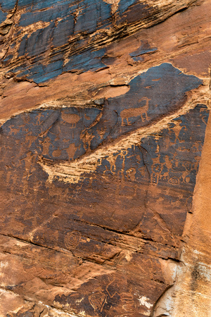 Petroglyph panel at the Utah Highway 279 Rock Art Site Stock Photo