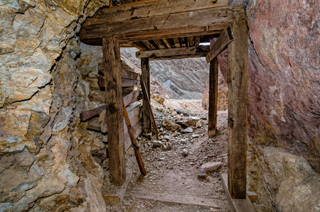 Abandoned mine entrance in Death Valley, California Stock Photo