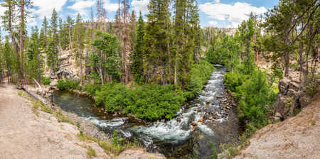 Panorama of Middle Fork San Joaquin River within Devils Postpile National Monument, Inyo National Forest, Ansel Adams Wilderness