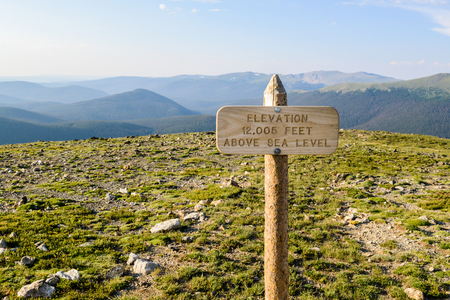 Elevation sign off Tundra World Nature Trail in Rocky Mountain National Park, Colorado