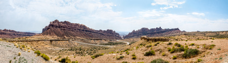 Panorama looking out onto Spotted Wolf Canyon in the San Rafael Swell, Utah
