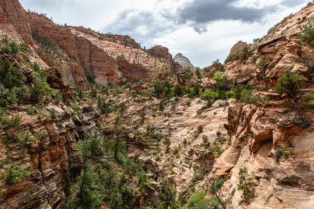 View from the Canyon Overlook Trail in Zion National Park, Utah 免版税图像
