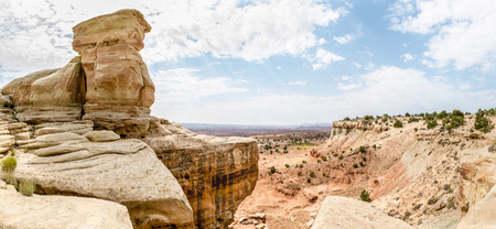 Panorama of cliffs in the San Rafael Swell in Utah off I-70 Stock Photo - 115492474