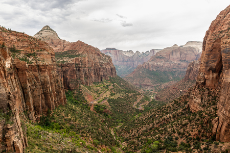 View from the Canyon Overlook Trail in Zion National Park, Utah Stock Photo
