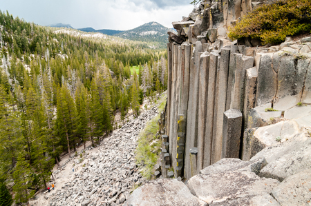 Hexagon basaltic columns seen from the top of Devils Postpile National Monument in Inyo National Forest, Ansel Adams Wilderness