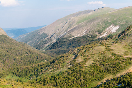 Trail Ridge Road to the alpine tundra in Rocky Mountain National Park, Colorado