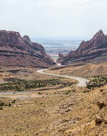 Looking out onto Spotted Wolf Canyon in the San Rafael Swell, Utah Stock Photo