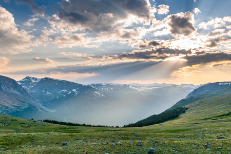 Sunset at the top of Trail Ridge Road to the alpine tundra in Rocky Mountain National Park, Colorado Stock Photo
