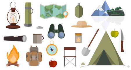 Set of camping icons. Flat design illustration. Illustration