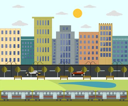 Cityscape, park and transportation in flat design
