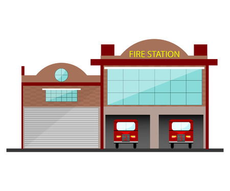 precinct station: Fire station building in flat design. Isolated object on white background.