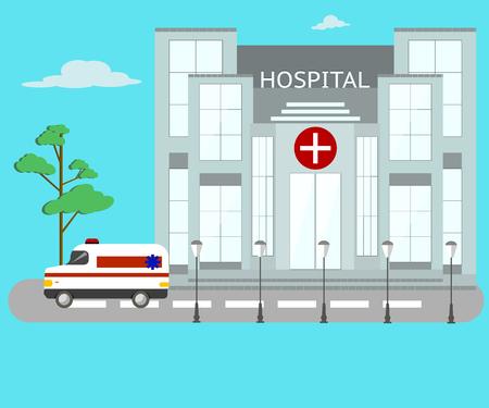 Ziekenhuis en ambulance in vlakke vormgeving.