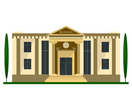 roman column: Bank building in flat design. Isolated object on white background. Illustration