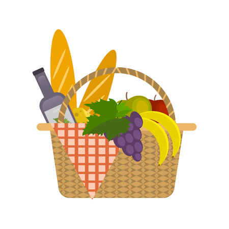 Picnic Basket illustration with food. Vector isolated objects.