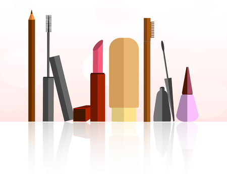 Cosmetic set isolated objects in flat design Illustration