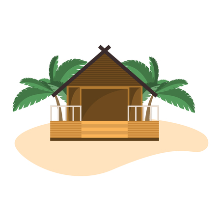 Beach bungalow on small island with palms. Isolated object on white background.
