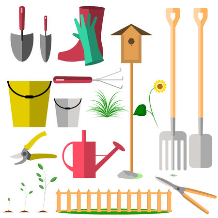 Garden tools on a white background in flat design