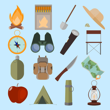 Flat design isolated objects of mountain camping. Vector set.