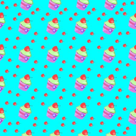 Seamless pattern with cupcake and cherry on blue background