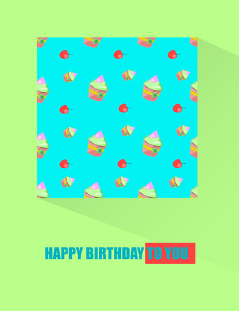 cuteness: Birthday Greeting card with seamless pattern on square Illustration