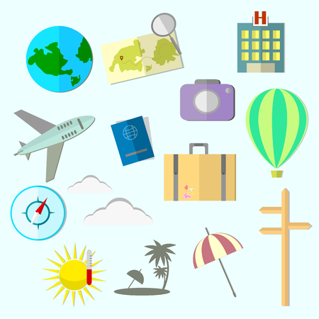 Set of travel icons in flat design