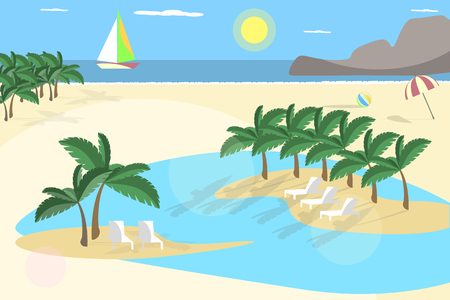 Beach background. Palm trees and sunset in flat design Vectores