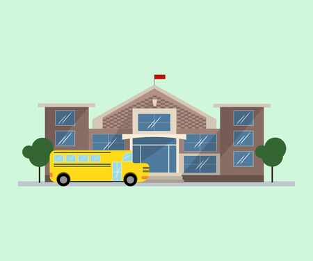 yellow schoolbus: Public school building in flat design. Isolated object on white background.