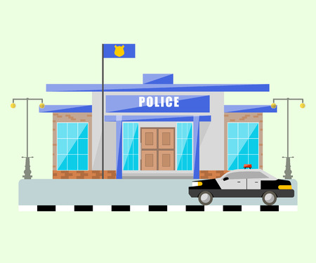 Vector police station with car isolated objects