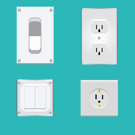 Realistic illustration of switches and sockets set Illustration