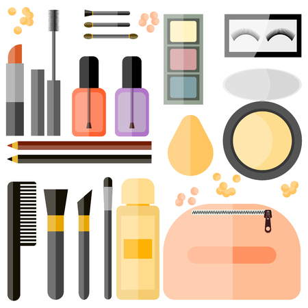 Cosmetic set in flat design