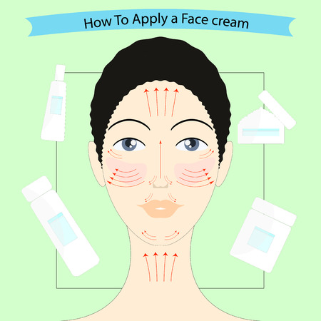 How to apply a face cream, vector illustration