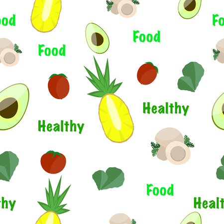 Seamless pattern of healthy food with fruits and vegetables on white background