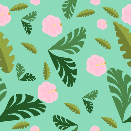 seamless pattern with beautiful exotic plants on green background