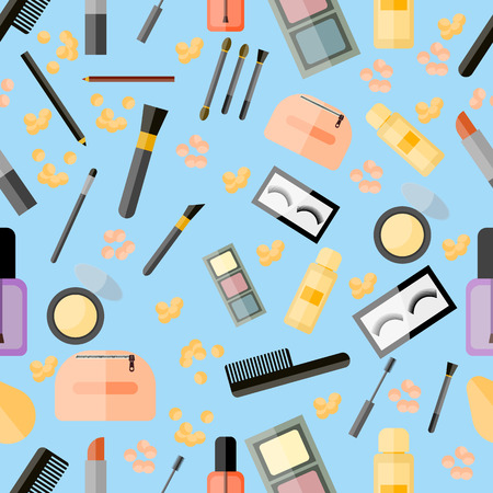 Seamless pattern of make up and beauty product