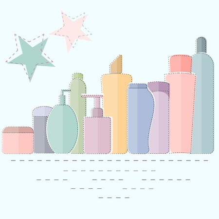 Colorful cosmetic product containers, flat style. 向量圖像