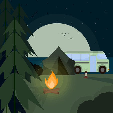 Flat design isolated objects of mountain camping. Vector collection.