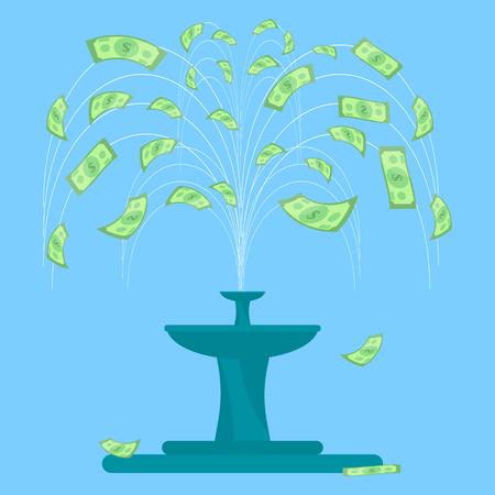 Money fountain vector illustration Stock Illustratie