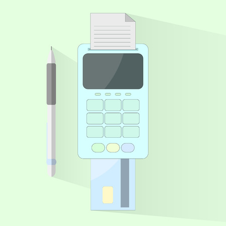 calculate: Payment process by card in flat design Illustration