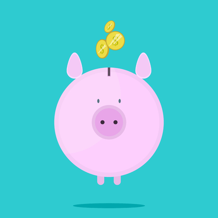 Piggy bank with coins. Pink cute piggy in flat style.