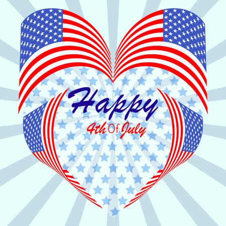 독립 기념일 그림, 심장의 모양에 플래그입니다. 해피 4 월 7 월 배너