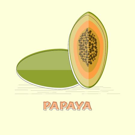 Vector papaya fruit in flat design isolated object Çizim