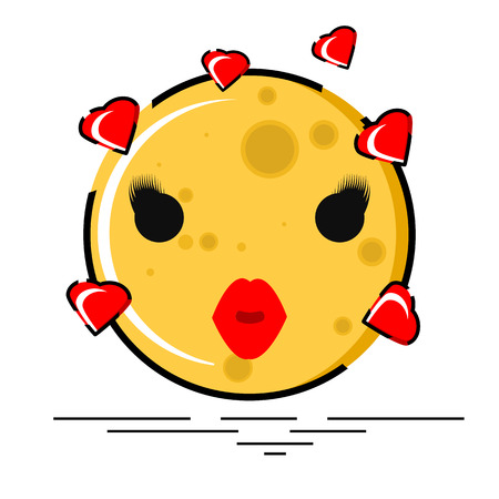 Love and kiss emoji with hearts in flat design