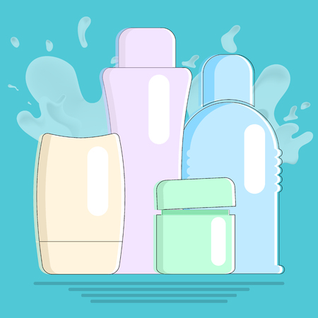 Cosmetic products in flat design on blue background