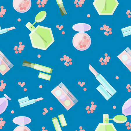 Seamless pattern with cosmetic products, make up and perfume, in flat design, on blue background 向量圖像