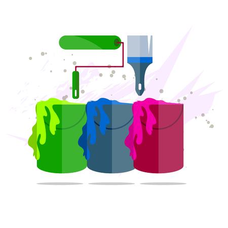 rollerbrush: Cans of color paint, brush and roller brush flat design illustration Illustration