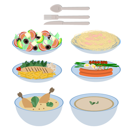 Food dishes collection, soup, salad, pasta with shrimps, chicken breast, sausage, in flat design