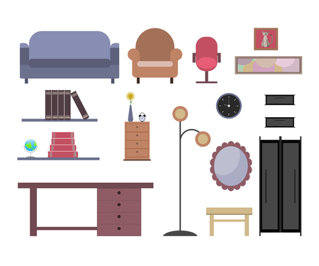 Set of furniture icons, simple design. Classic interior in flat design.