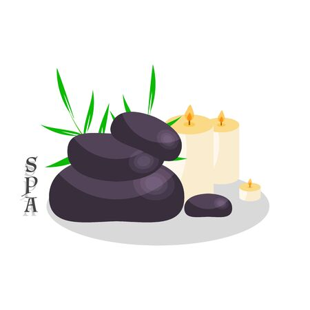 Stones for spa and candles icon or logo for business