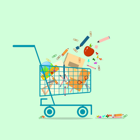 Shopping basket with school supplies. Back to school concept.