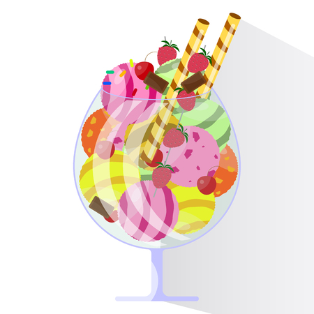 Ice cream in large glass with fruits and chocolate